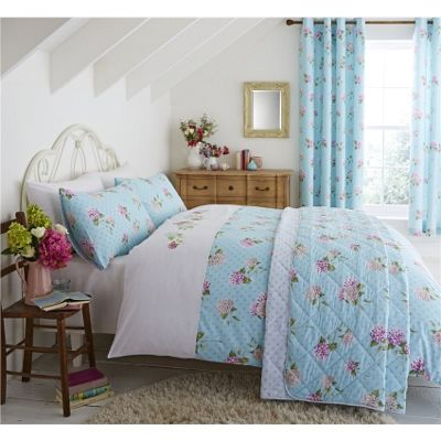 Catherine Lansfield Embroidered Floral Duck Egg Duvet Cover Set - Single