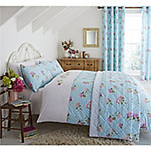 Catherine Lansfield Embroidered Floral Duck Egg Duvet Cover Set - White
