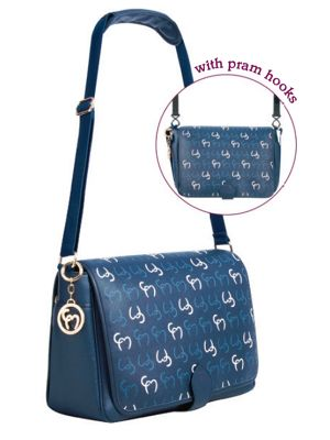 Clevamama Initials Collection Ellie NavyMessenger Baby Changing Bag & Mat