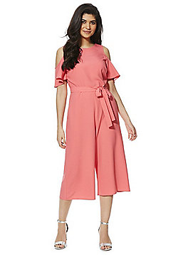 F&F Cold Shoulder Culotte Jumpsuit - Coral