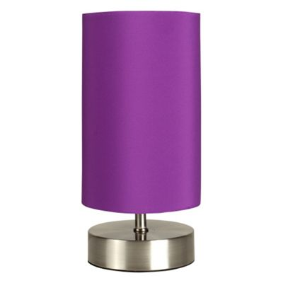Francis Touch Table Lamp, Brushed Chrome & Purple Shade