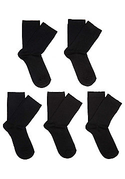 F&F 5 Pair Pack of Fresh Feel Socks with Bamboo - Black