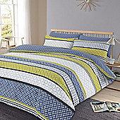 Duvet Cover Pillow Case Set, Geometric Lola - Blue & Green