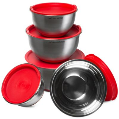 Andrew James Mixing Bowls with Lids - 5 Piece Stainless Steel Set with Red Plastic Lids