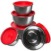 Andrew James Premium 5 Piece Stainless Steel Mixing Bowl Set in Red