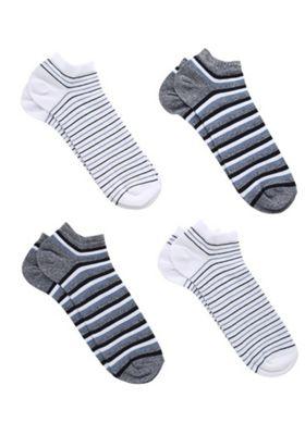 F&F 4 Pair Pack of Fresh Feel Striped Trainer Socks Navy Adult Shoe 9-12