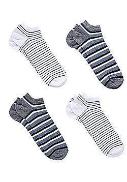 F&F 4 Pair Pack of Fresh Feel Striped Trainer Socks - Navy