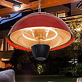 Outsunny 1.5KW Garden Electric Halogen Patio Heater Hanging Lamp Aluminium- Red