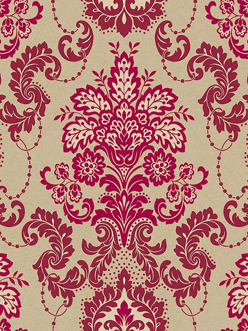 Vasari Rococo Damask Wallpaper Mulberry Arthouse 952702