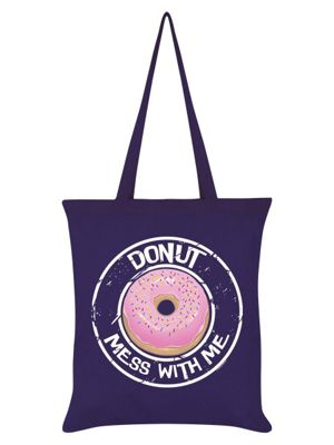 Donut Mess With Me Tote Bag Purple 38x42cm