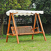 Outsunny 3 Seater Wooden Garden Swing Chair - Cream