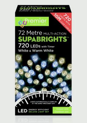 Supabrights Christmas Timer Fairy Lights - 720 Leds - White and Warm White