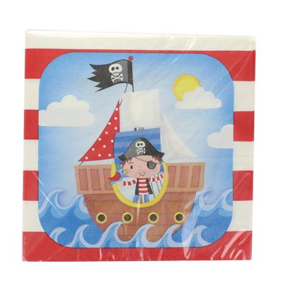Children's Party Pack Of 20 Pirate PLY Napkins 33 x 33cm