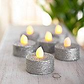 Set of 6 Silver Glitter Battery LED Tea Lights