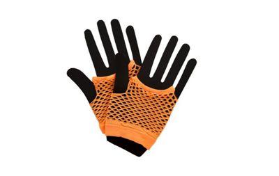 80's Dance Neon Orange Short Fishnet Gloves Fancy Dress Accessory