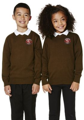 Unisex School V-Neck Cotton Jumper with As New Technology 7-8 years Brown