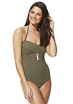 F&F Luxury Swimwear Metallic Disc Halterneck Bandeau Swimsuit - Khaki