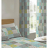 Multi Teal Floral Patchwork Eyelet Curtains 72s