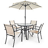 VonHaus 6 Piece Dining Set – Outdoor Furniture Set with Glass Topped Table, 4 Stackable Chairs and Parasol Umbrella
