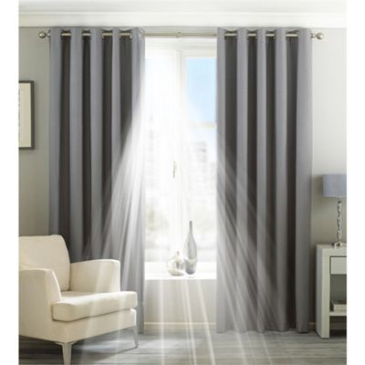 Riva Home Eclipse Blackout Silver Eyelet Curtains - 66x54 Inches (168x137cm)