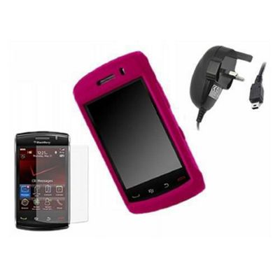 iTALKonline LCD Screen Protector, Mains Charger and SnapGuard Case Pink - For Blackberry 9520