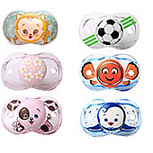 Raz-baby Keep It Kleen Pacifier Dummy Bundle 6 Supplied - Penguin, Kitty, Football, Fish, Pink Puppy, Pink Flowers