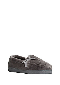 F&F Quilted Closed Back Slippers - Grey