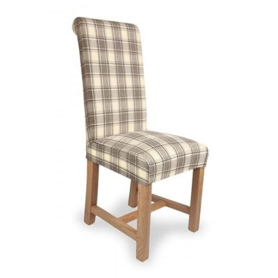 Pair of Richmond Herringbone Check Dining Chairs - Brown