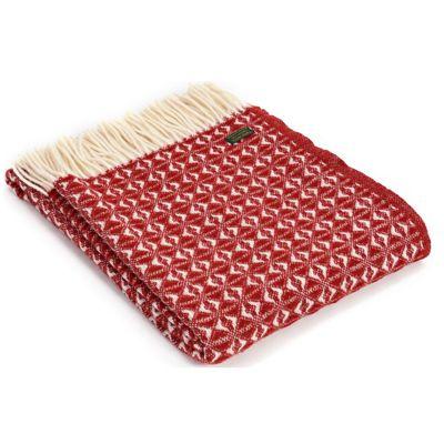 Tweedmill Textiles 100% Pure Wool Blanket Cob Weave Design in Red