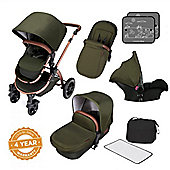 Ickle Bubba Stomp V4 Special Edition Travel System plus Buggy Lights - Woodland Bronze