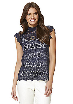 JDY Lace High Neck Top - Navy