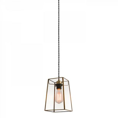 Clear Glass & Antique Brass Effect Plate Non Electric 60W