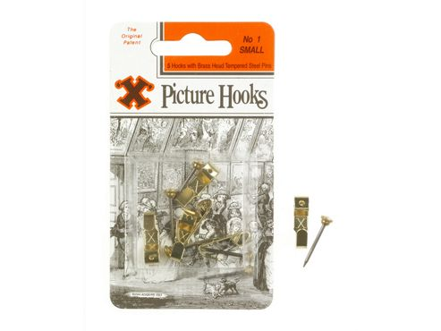 Shaw X Picture Hooks Brass Plated No.1 X50