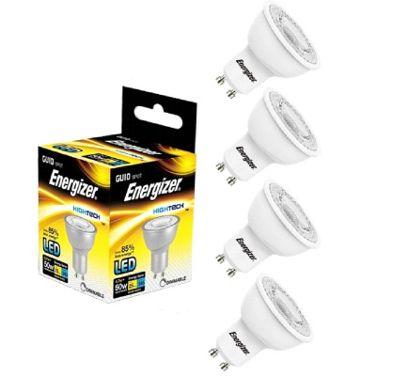 4x Energizer GU10 LED Light Bulb 345 Warm White Dimmable