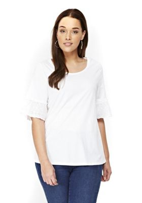 Evans Frill Sleeve Plus Size Top White 16