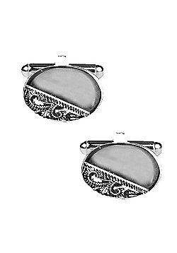 Semi Engraved Rhodium Plated Oval Cufflinks