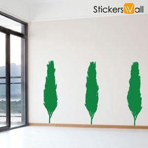 Set of 3 Treeline Wall Stickers, Green