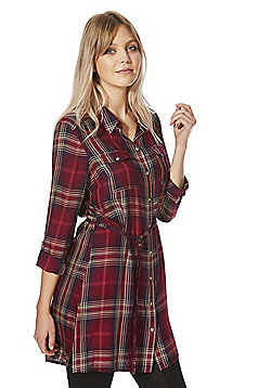 F&F Checked Tie Waist Tunic - Red