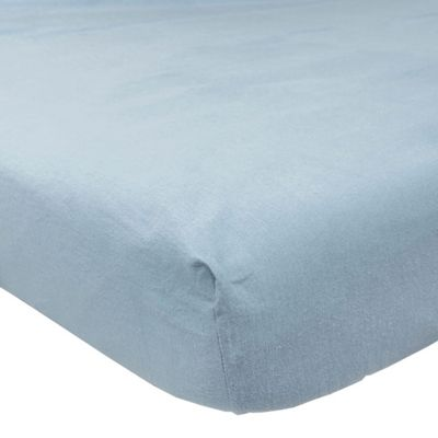 Homescapes Blue Brushed Cotton Fitted Sheet 100% Cotton Luxury Flannelette, Double