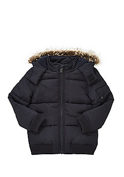 F&F Faux Fur Hood Padded Jacket - Navy