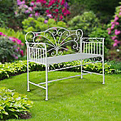 Outsunny 2 Seater Garden Bench Park Seating Furniture w/ Decorative Backrest White