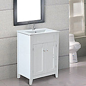 Homcom Under Sink Bathroom Storage Cabinet Vanity Unit Wooden Cupboard Basin (White)