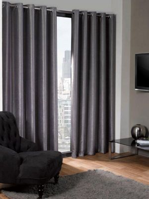 Logan Eyelet Thermal Blackout Curtains, Silver 168x229cm