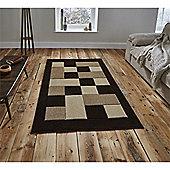Matrix Check Border Brown & Beige Runner - 60x225cm