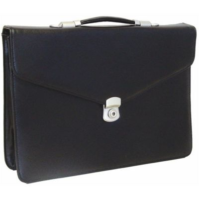 Monolith 2360 Flapover Leather Look Briefcase Black