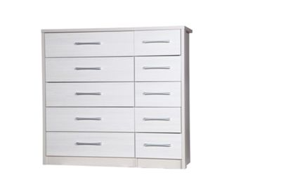 Alto Furniture Avola 10 Drawer Double Chest - Cream Carcass With White Avola