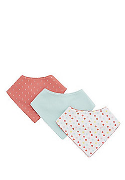F&F 3 Pack of Spotty and Plain Dribble Bibs - Multi