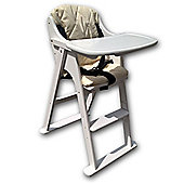 Safetots Putaway Folding Wooden Highchair White With Cream Cushion