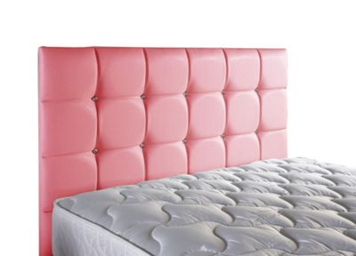 ValuFurniture Diamond Leather Headboard - Pink - Single 3ft