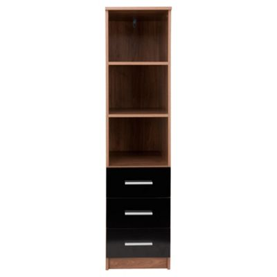 Jazz 3 Drawer Storage Unit, Walnut/Black Gloss